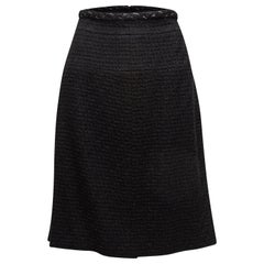 Chanel Black Chain-Accented Knee-Length Skirt