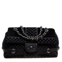 Chanel Black Check Embossed Velvet Vintage CC Side Belted Bowler Bag