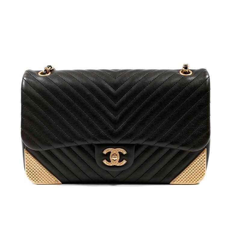 Chanel Black Chevron Calfskin Rock The Corner Flap Bag 1