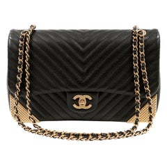 Chanel Black Chevron Calfskin Rock The Corner Flap Bag