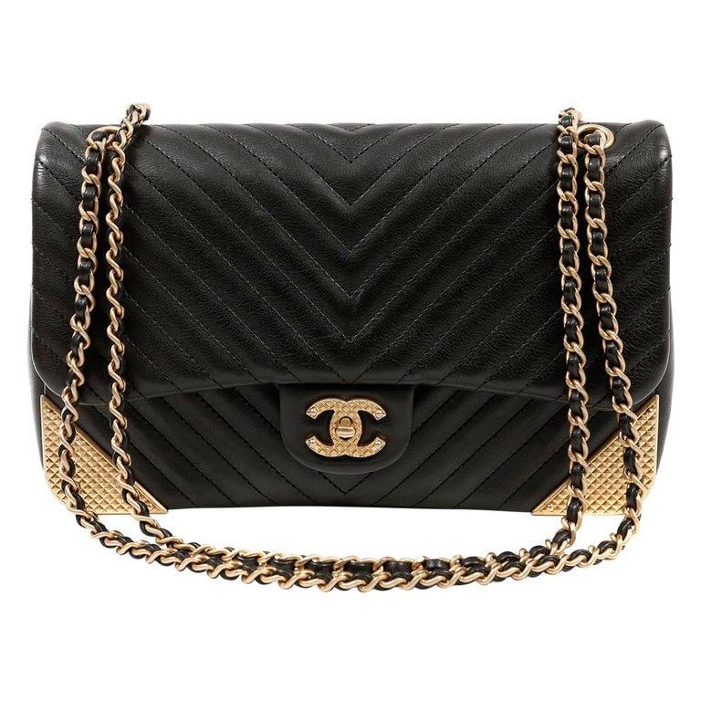 Chanel Black Chevron Calfskin Rock The Corner Flap Bag