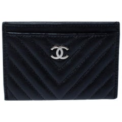 Chanel Black Chevron Leather Card Holder