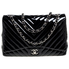 Chanel Black Chevron Patent Leather Maxi Classic Single Flap Bag