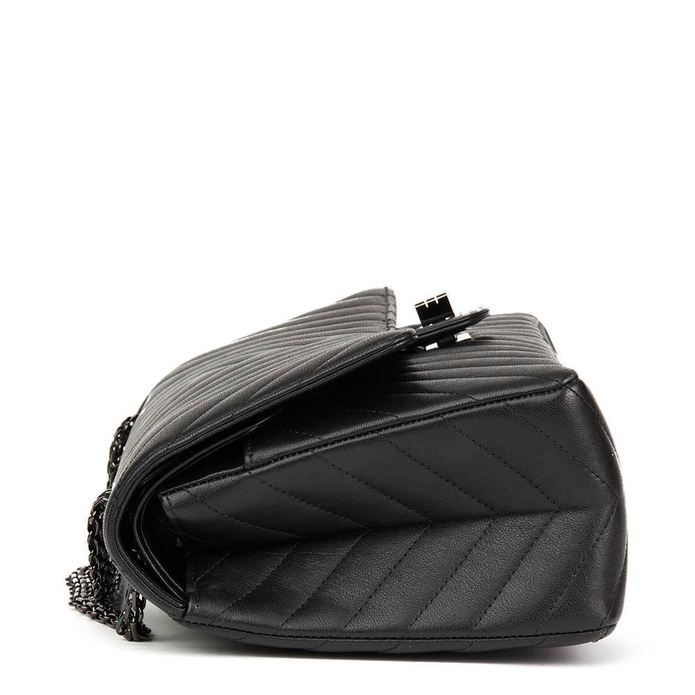 8f747af43d1b 2017 Chanel Black Chevron Calfskin So Black 2.55 Reissue 226 Double Flap Bag  at 1stdibs