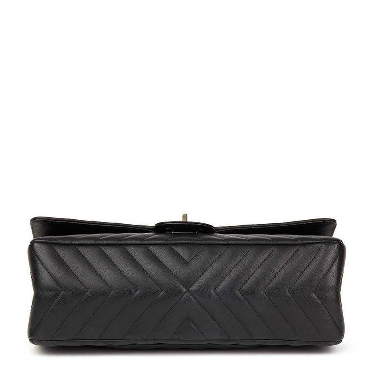 fb4777ccc262 2017 Chanel Black Chevron Calfskin So Black 2.55 Reissue 226 Double Flap Bag  For Sale 9