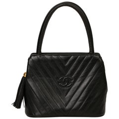 Chanel Black Chevron Quilted Lambskin Vintage Timeless Fringe Tote
