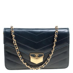 Chanel Black Chevron Quilted Leather Medal Flap Bag