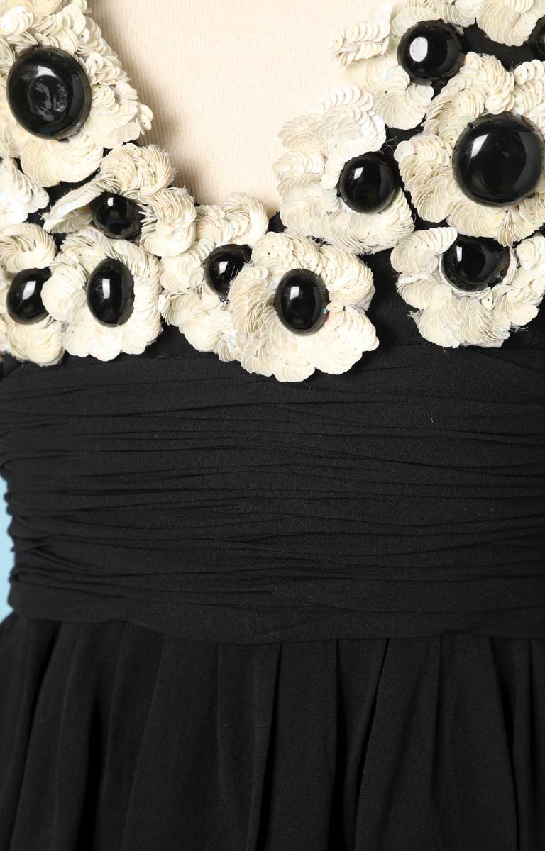 Chanel black chiffon dress In Excellent Condition For Sale In Saint-Ouen-Sur-Seine, FR