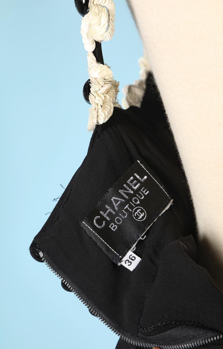 Chanel black chiffon dress For Sale 2