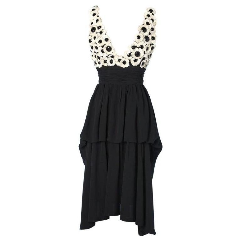 Chanel black chiffon dress For Sale