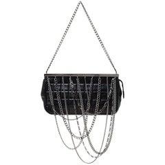 Chanel Black Chocolate Bar Leather Multi-Chain Clutch