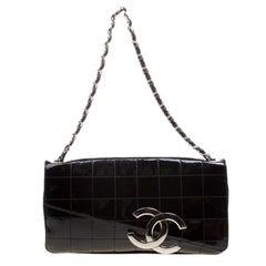Chanel Black Chocolate Bar Patent Leather CC Logo Chain Clutch