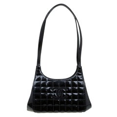 Chanel Black Chocolate Bar Patent Leather Kisslock Shoulder Bag