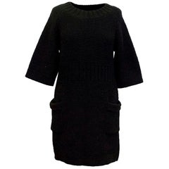 Chanel Black Chunky Knitted Dress US 6
