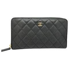 Chanel Black Classic Caviar Long Zipped Wallet