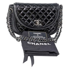Chanel Black Classic Twist Crescent Flap Bag
