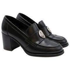 Chanel black clover embellished mid heel loafers - Size EU 38