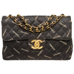Chanel Black Coated Canvas Logo Half Flap Maxi Vintage Bag