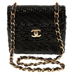 Chanel Black Coated Wicker Mini Flap Classic Bag