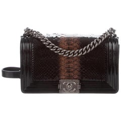 Chanel Black Cognac Leather Gun Snakeskin Exotic Boy Small Shoulder Flap Bag
