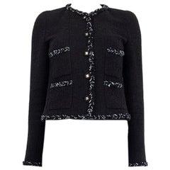 CHANEL black cotton BRAID TRIM FOUR POCKET Blazer Jacket 36 XS