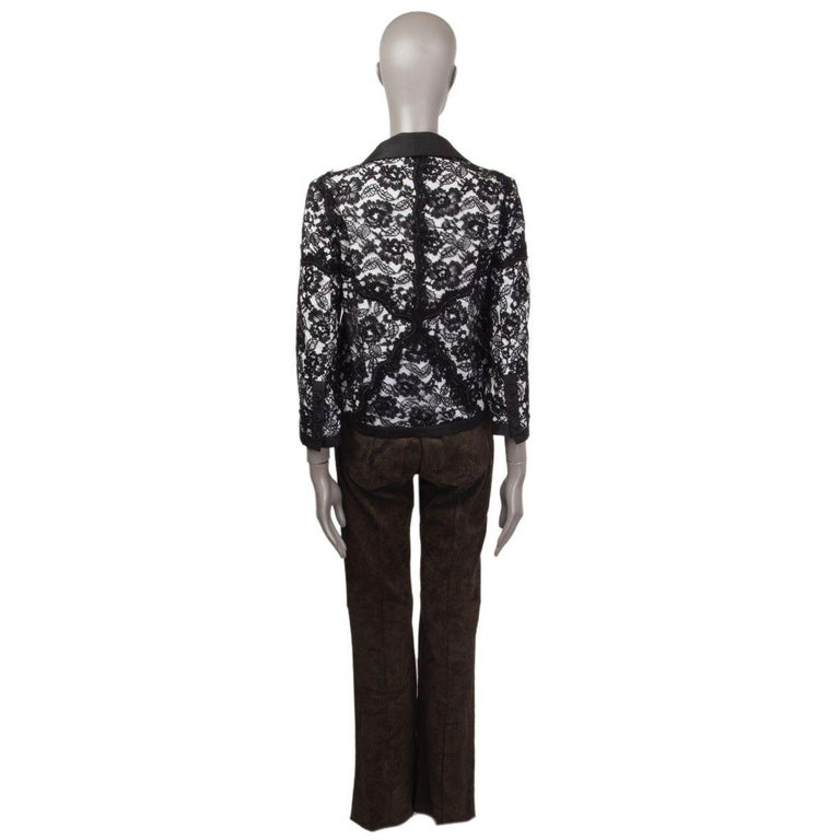 CHANEL black cotton LACE LAYERED Blazer Jacket 38 S In Excellent Condition For Sale In Zürich, CH