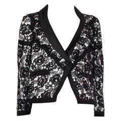 CHANEL black cotton LACE LAYERED Blazer Jacket 38 S