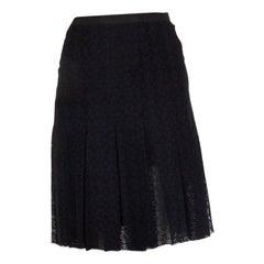 CHANEL black cotton polyamide LACE PLEATED Skirt 48 XXL