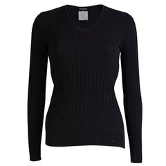 Chanel Black Cotton Ribbed Knit Sweater S