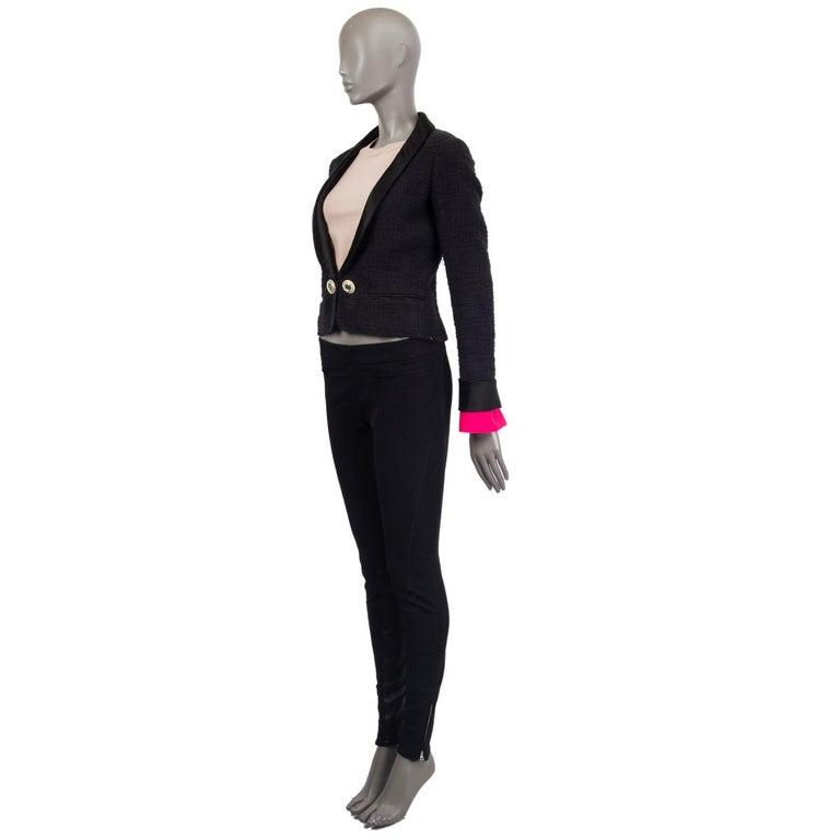 Black CHANEL black cotton SATIN LAPEL CROPPED Tweed Blazer Jacket 36 XS For Sale