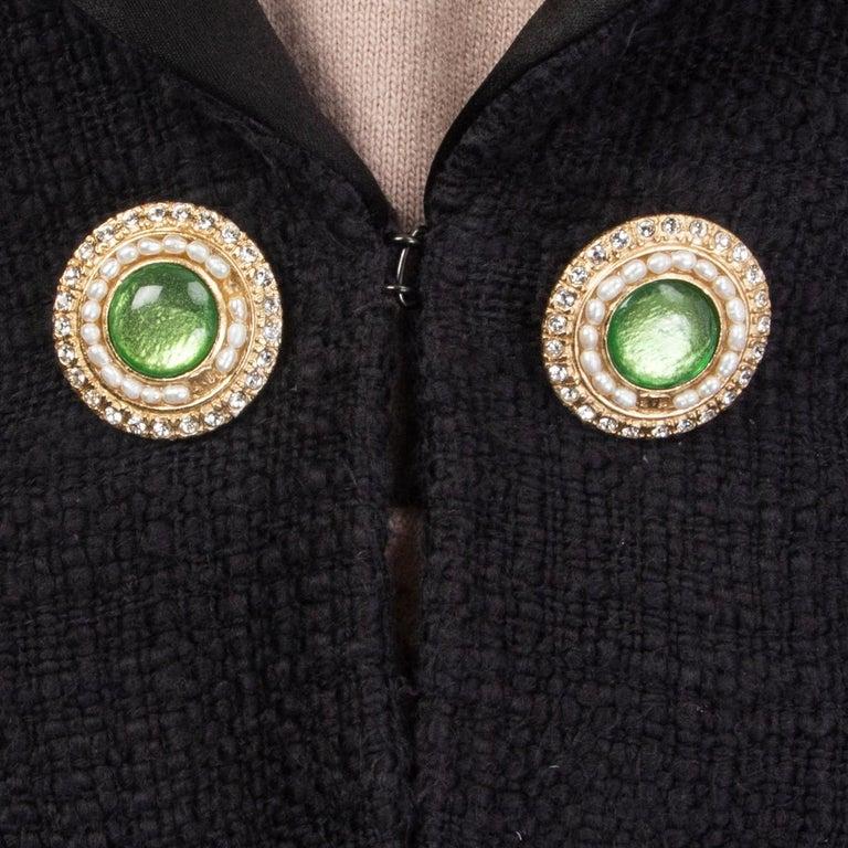 Women's CHANEL black cotton SATIN LAPEL CROPPED Tweed Blazer Jacket 36 XS For Sale