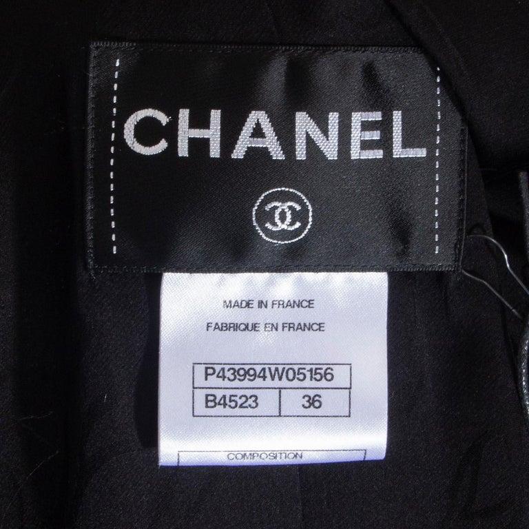 CHANEL black cotton SATIN LAPEL CROPPED Tweed Blazer Jacket 36 XS For Sale 1