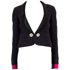 CHANEL black cotton SATIN LAPEL CROPPED Tweed Blazer Jacket 36 XS