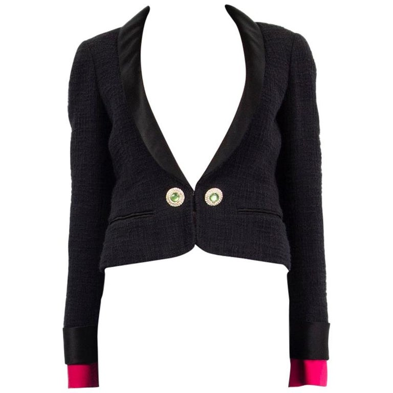 CHANEL black cotton SATIN LAPEL CROPPED Tweed Blazer Jacket 36 XS For Sale