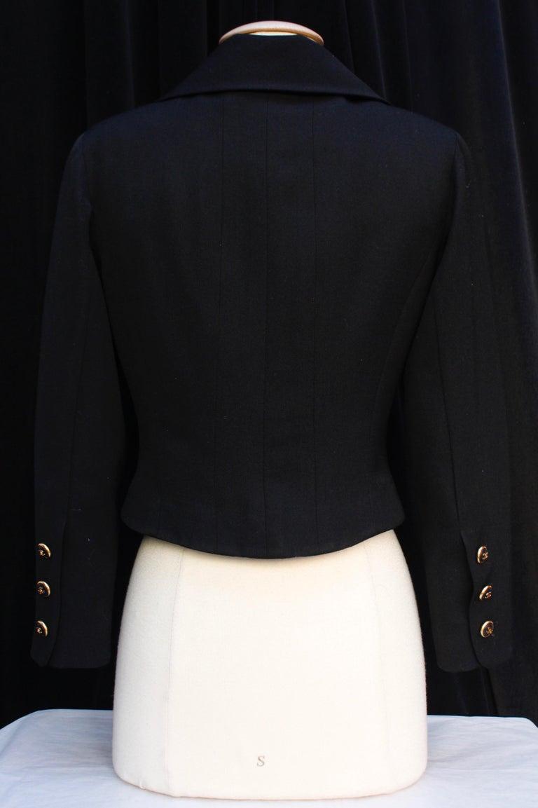 Black Chanel black cotton short jacket, 1990's   For Sale