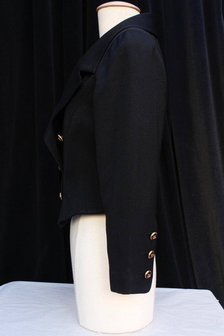 Chanel black cotton short jacket, 1990's   In Excellent Condition For Sale In Paris, FR