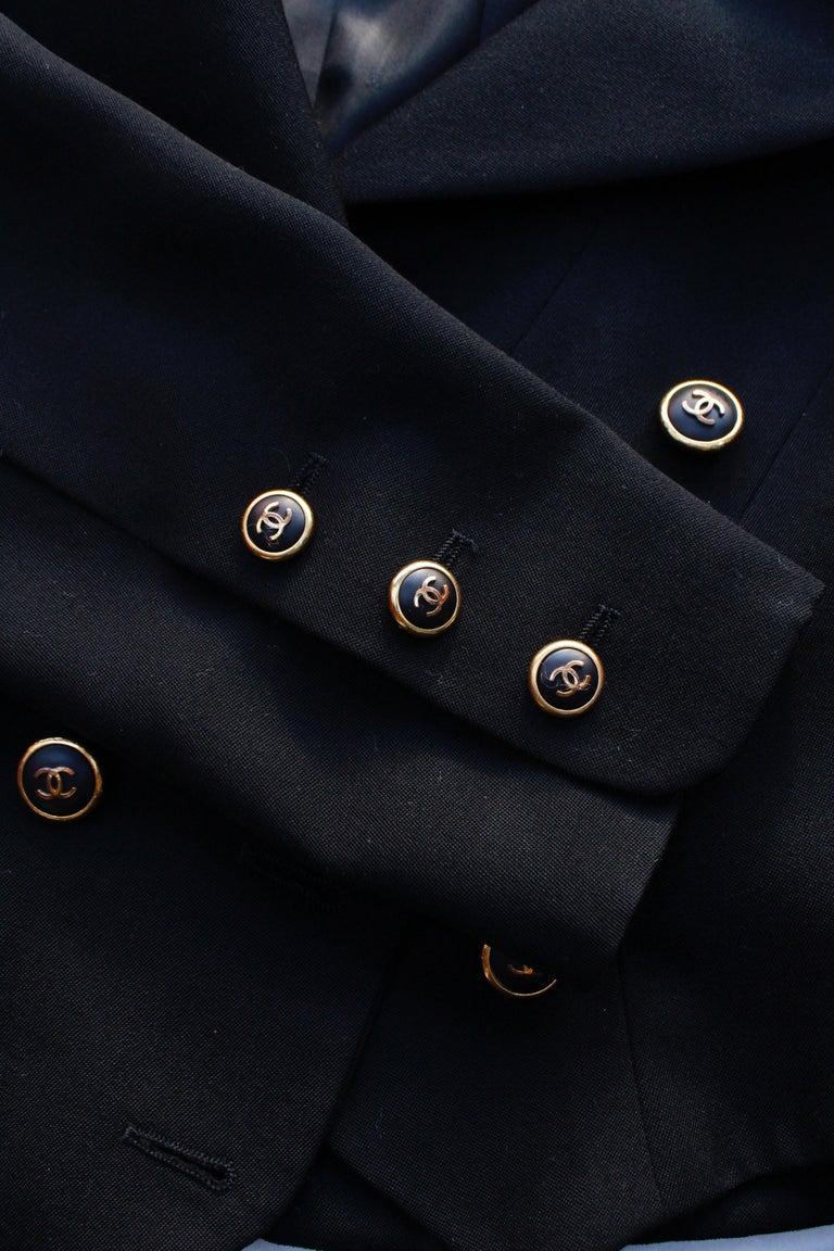 Women's Chanel black cotton short jacket, 1990's   For Sale
