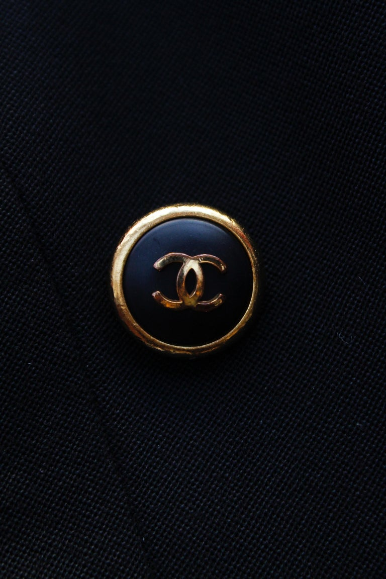 Chanel black cotton short jacket, 1990's   For Sale 1