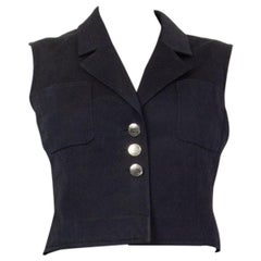 CHANEL black cotton & silk Cropped Vest Jacket 40 M