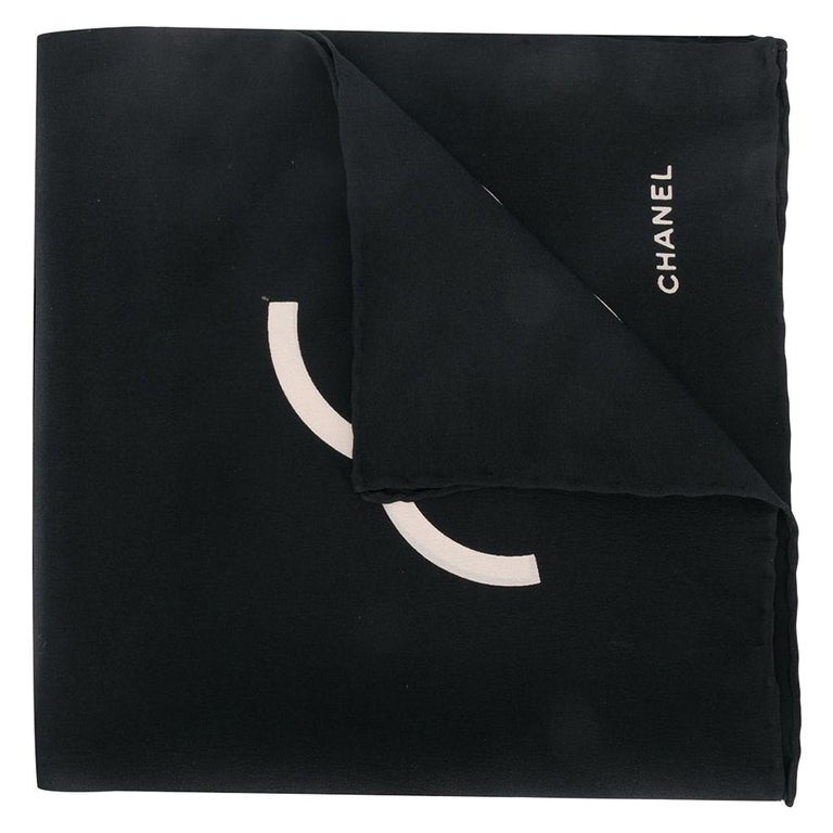 Chanel Black & Cream CC Logo Handkerchief For Sale