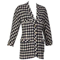 Chanel Black Crème Wool Check Gold Button Cardigan Jacket, 1980s