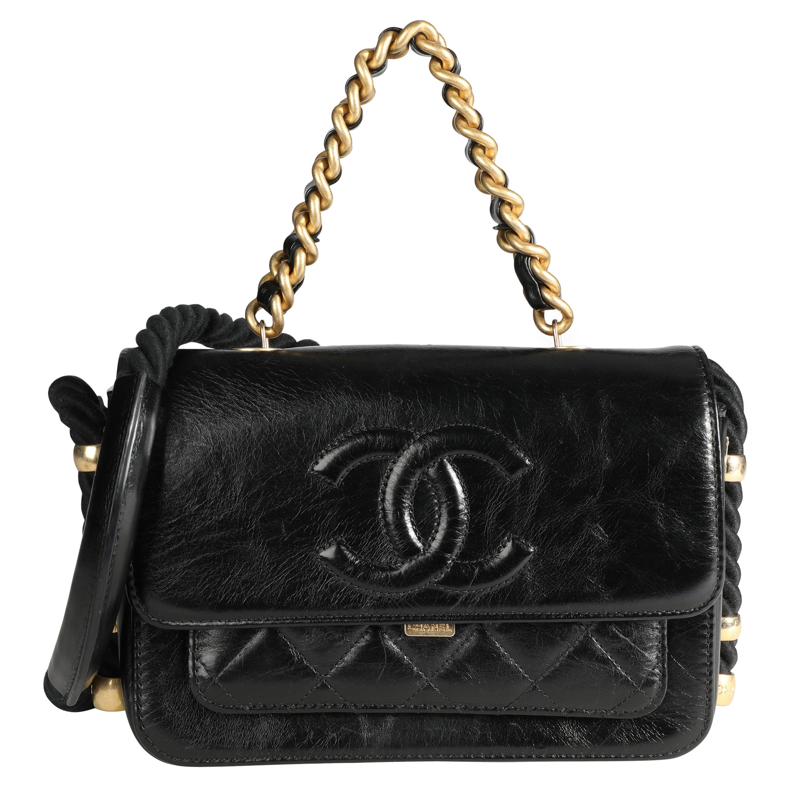 Chanel Black Crinkled Calfskin En Vogue Rope Flap Bag