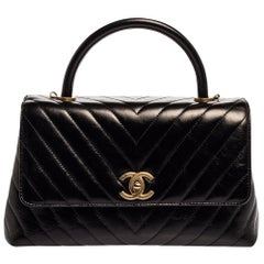 Chanel Black Crinkled Chevron Leather Small Coco Top Handle Bag