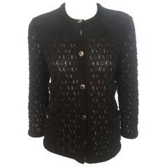 Chanel Black Crochet Cardigan