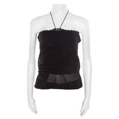 Chanel Black Crochet Knit Grape Vine Applique Tank Top L