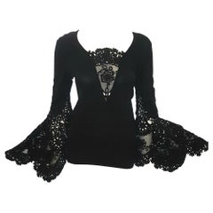 Chanel Black Crocheted Sweater W/ Long Sleeve Finishing at Extreme Bell Sleeves