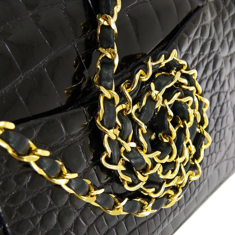 Chanel Black Crocodile Exotic Leather Gold Double Evening Shoulder Flap Bag In Good Condition For Sale In Chicago, IL