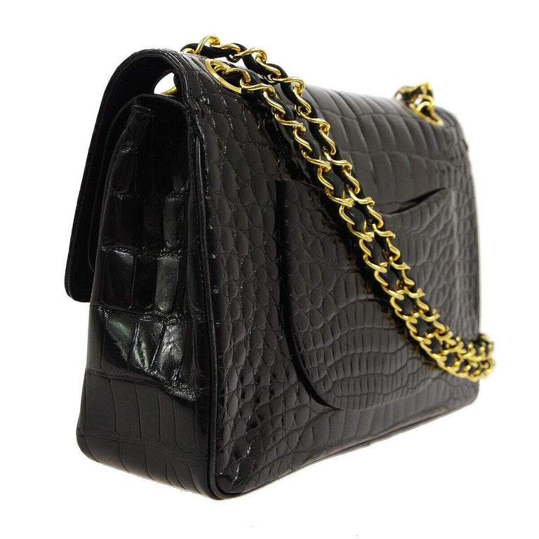 Women's Chanel Black Crocodile Exotic Leather Gold Double Evening Shoulder Flap Bag For Sale