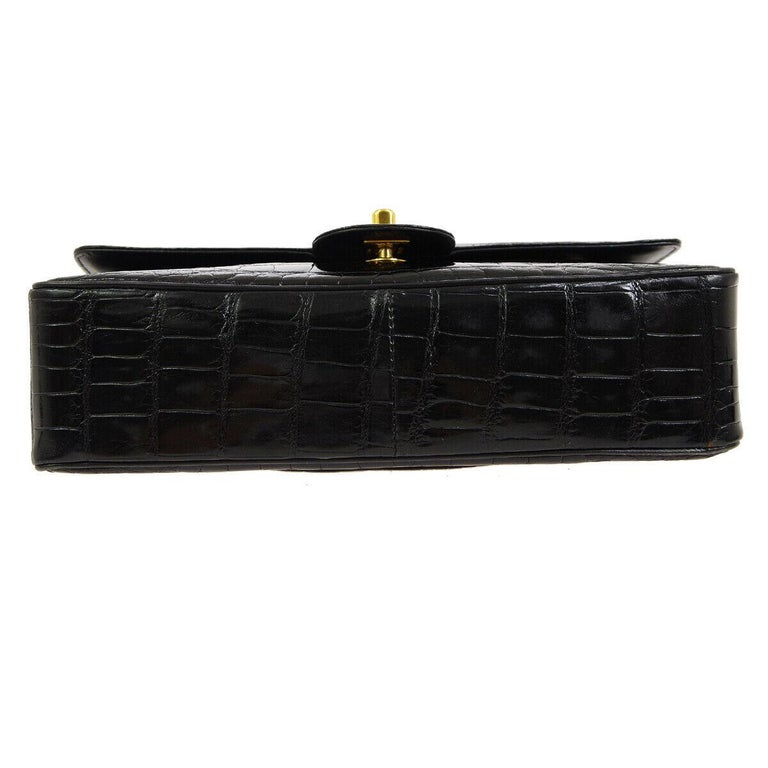 Chanel Black Crocodile Exotic Leather Gold Double Evening Shoulder Flap Bag For Sale 1