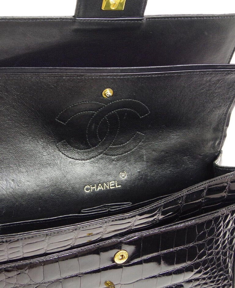 Chanel Black Crocodile Exotic Leather Gold Double Evening Shoulder Flap Bag For Sale 3